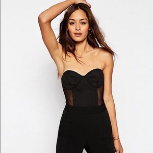 ASOS Tops - Sexy black strapless body suit with mesh inserts